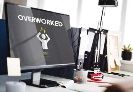 overworked: Overworked Depression Emotion Exhaust Problem Concept