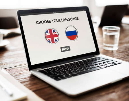 dialect: Russian English Communication Language Concept Stock Photo