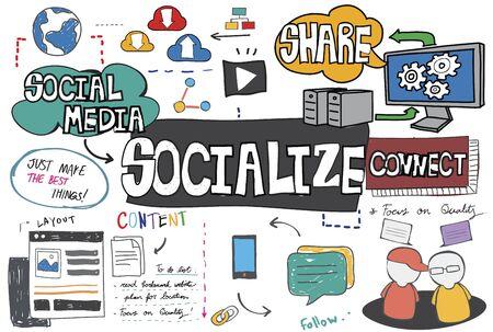 socialize: Socialize Sharing Social Media Connect Concept Stock Photo