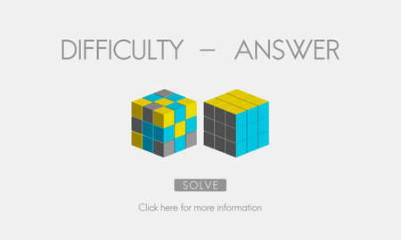 solving: Difficulty Answer Solution Solving Strategy Result Concept Stock Photo