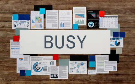 hectic: Busy Hardworking Multitasking Overload Rushing Concept Stock Photo