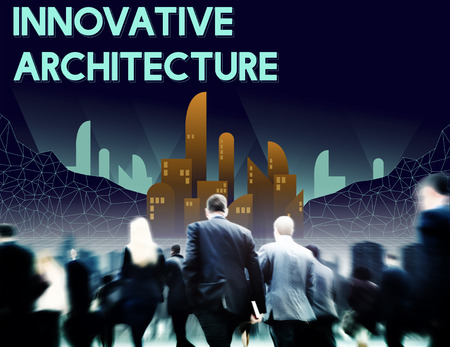innovate: Innovate Innovative Architecture Skyscraper Structure Concept Stock Photo