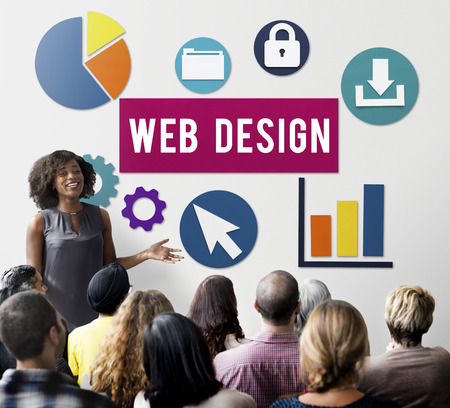 Web design concept with audience