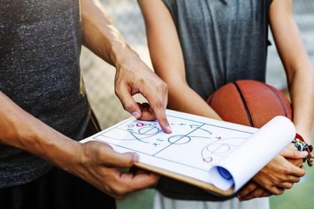 Баскетболист Спорт План игры Тактика Концепция Фото со стока