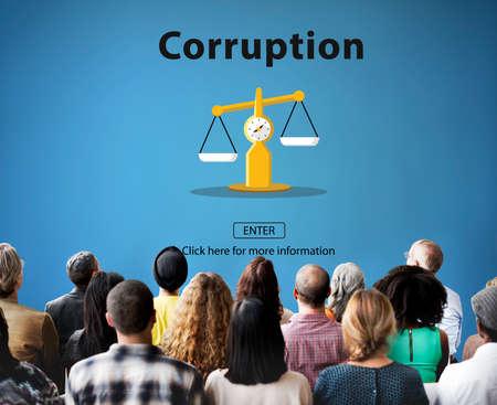 illegal: Corruption Bribe Cheat Illegal Money Finance Concept