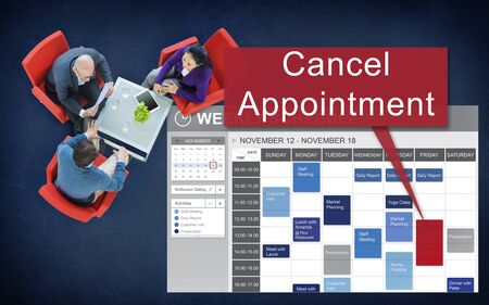 assigning: Cancel Cancellation Appiontment Postpone Concept