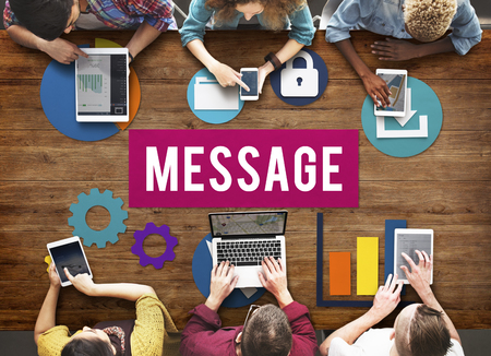 Message concept with people on digital devices Banco de Imagens