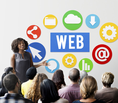 Web concept with audience Stockfoto