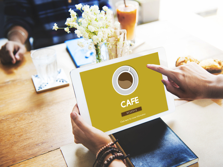digital tablet: Cafe Coffee Coffee Shop Drink Concept Stock Photo