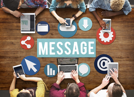 Message concept with people on digital devices Imagens