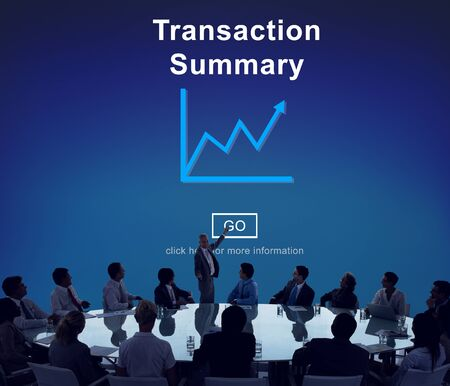 cuadro sinoptico: Transaction Summary Budget Balance Account Concept Foto de archivo