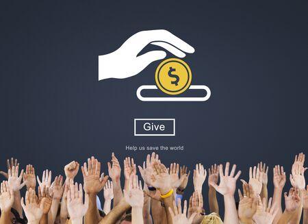 Dar ayuda Cuidado favor apoye donar el concepto de la Caridad