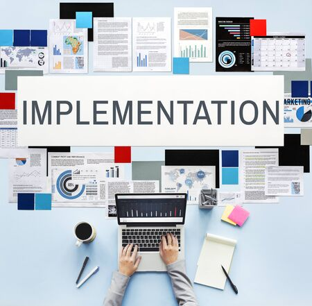 enact: Implementation Achieve Effect Installing Perform Concept Stock Photo