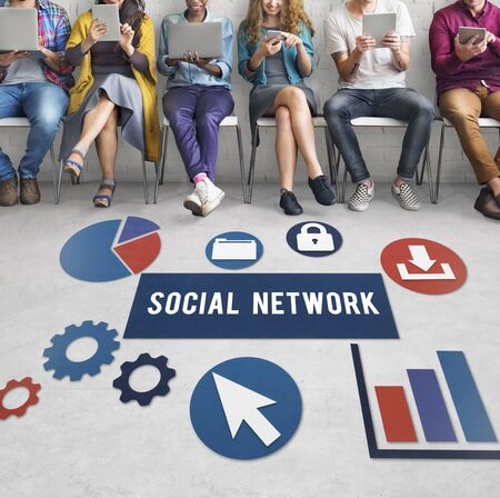 friend chart: Social Media Network Internet Connection Concept Stock Photo