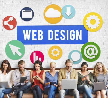 Web design concept with group of people Stock Photo
