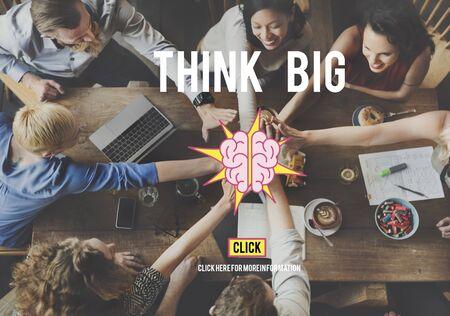 think big: Ideas Brainstorming Vision Innovation Think Big Concept