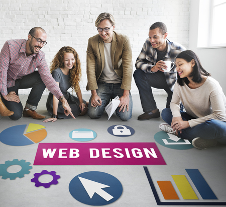 Group of people on the floor with web design concept