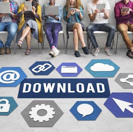 downloading: Downloading Loading Online Internet Concept Stock Photo