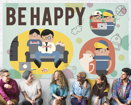 be: Be Happy Activity Leisure Activity Concept Stock Photo