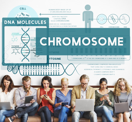 Group of people with chromosome concept