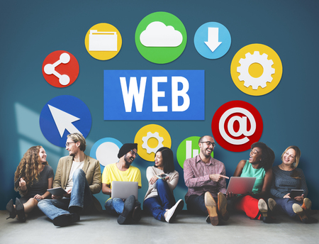 Group of people sitting on floor with web concept