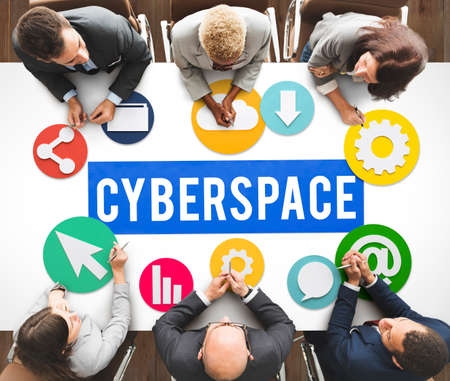 cyberspace: Cyberspace Online Technology Internet Concept Stock Photo