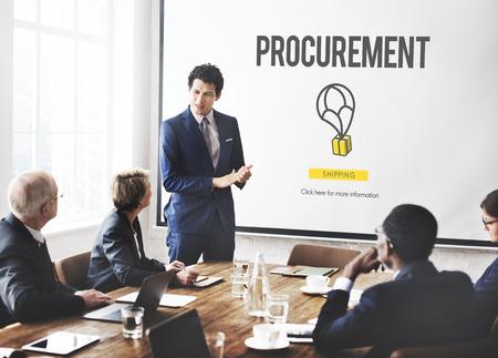 liderazgo empresarial: Compras de Distribución Concepto Cooperación Compra Foto de archivo