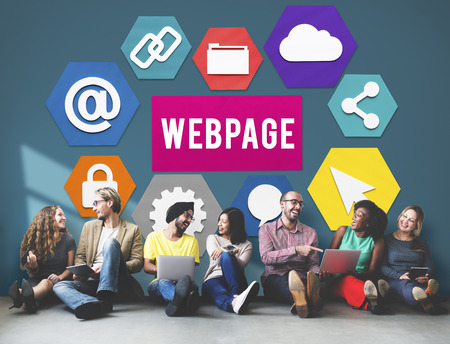 Group of people sitting on floor with webpage concept