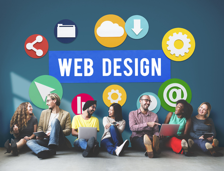 Group of people sitting on floor with web design concept
