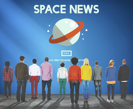 Group of people with space news concept