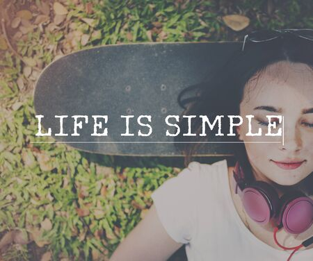 simple life: Life is Simple Lifestyle Happiness Concept Stock Photo