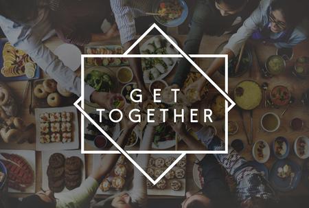 get together: Get Together Friendship integration Support Concept Stock Photo