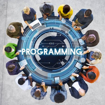 digital media: Programming Program Computer Technology Code Concept Stock Photo