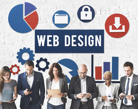Group of people with web design concept