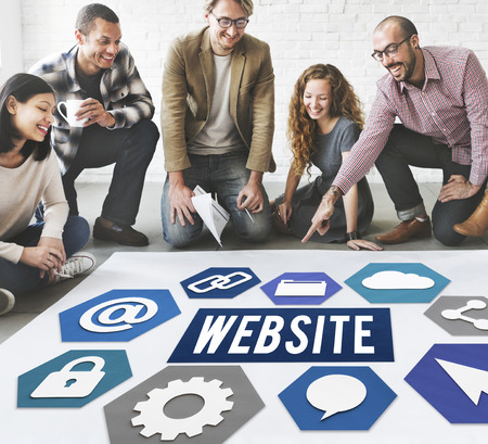 Group of people on the floor with website concept