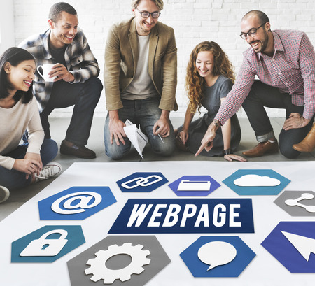 Group of people on the floor with webpage concept