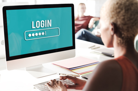 log in: Log In Interface Password Security Concept Stock Photo