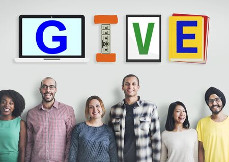 smile please: Give Donations Aid Charity Design Word Concept Stock Photo