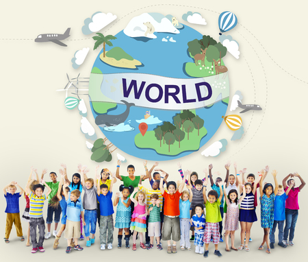 elementary age: World Worldwide Society Global Community Connection Concept