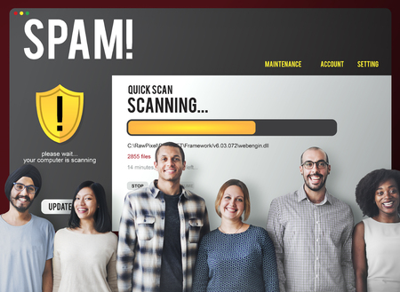 Group of people with spam concept Imagens