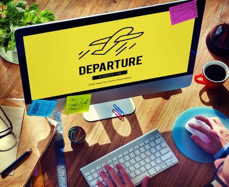 depart: Departure Plane Check In Travel Concept