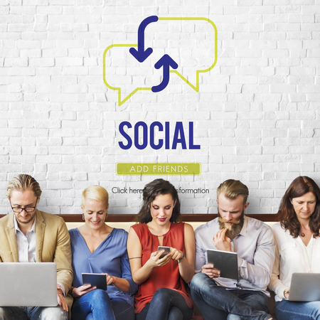 Group of people with social concept