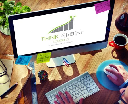 think green: Think Green Conservation Ecology Environment Concept Stock Photo