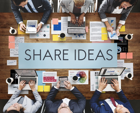 Brainstorming with share ideas concept Imagens