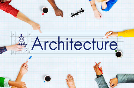 university word: Architecture Building Design Ideas Real Estate Concept Stock Photo