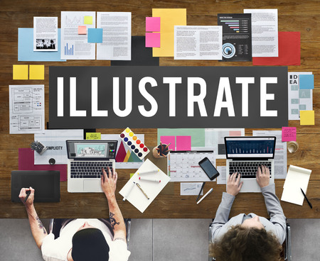 People working with illustrate concept