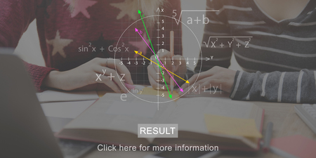 Result concept with students studying in background