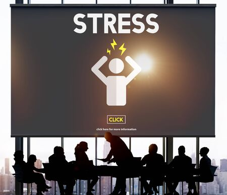 tension: Stress Headache Migraine Panic Tension Unhappy Concept