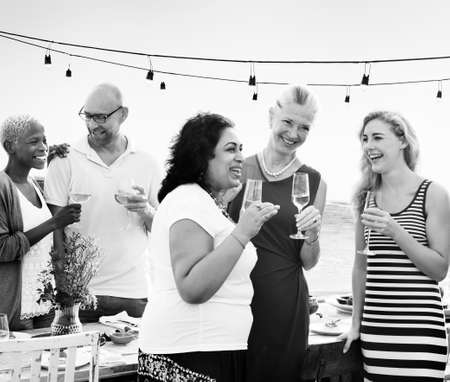 wine and dine: Group Diverse People Dinner Party Outdoors Concept Stock Photo