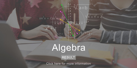 Algebra concept with students studying in background